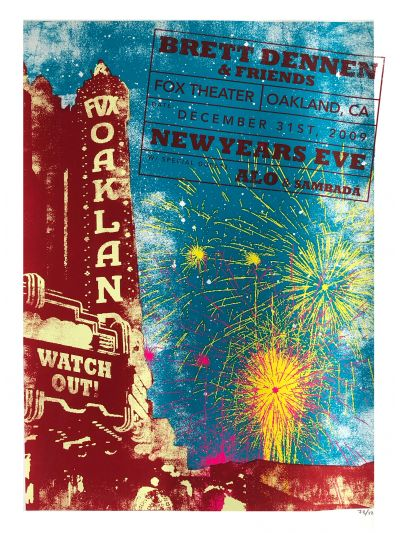 NYE with Brett Dennen - Fox Theater, Oakland, CA 12/31/09 Poster