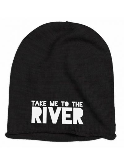 Take Me To The River Embroidered Logo Beanie - Black