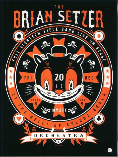 Limited Edition Brian Setzer Orchestra Tour Poster - Belly Up, Solana Beach, CA -  December 20, 2013
