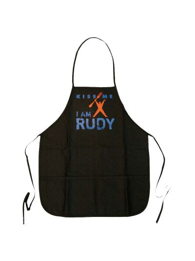 Kiss Me I am Rudy BBQ Apron - Black