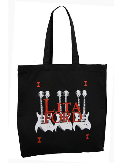 Lita Ford - Double Neck Guitar Logo Tote Bag with Gusset