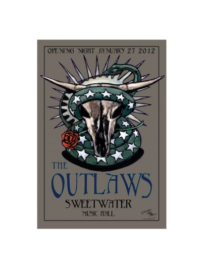The Outlaws at Sweetwater - Opening Night 1/27/12 Stanley Mouse Poster - Autographed