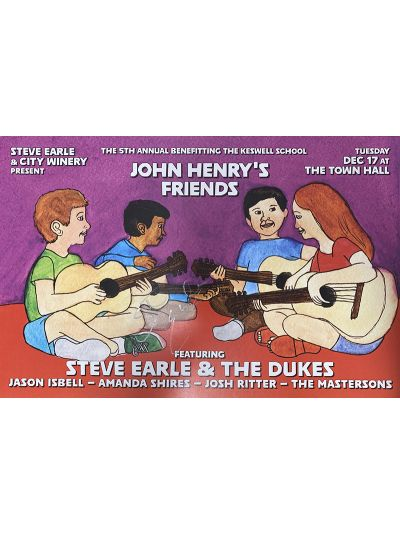 Steve Earle 5th Annual John Henry's Friends Benefit Poster - Autographed by Steve Earle